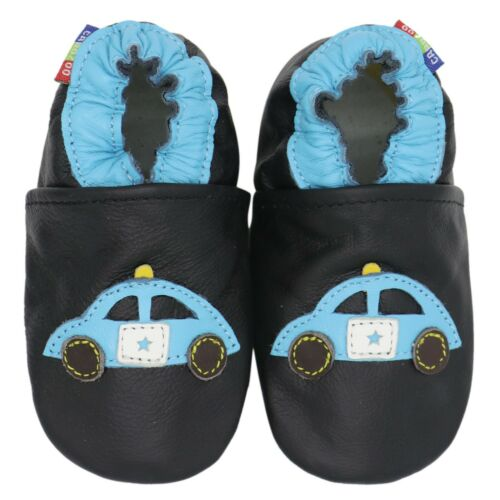 carozoo black police car 6-7y soft sole leather kids shoes slippers