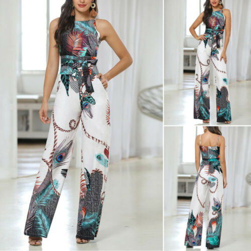 Womens Peacock Feather Print Jumpsuit Summer Beach Wide Leg Holiday Playsuit