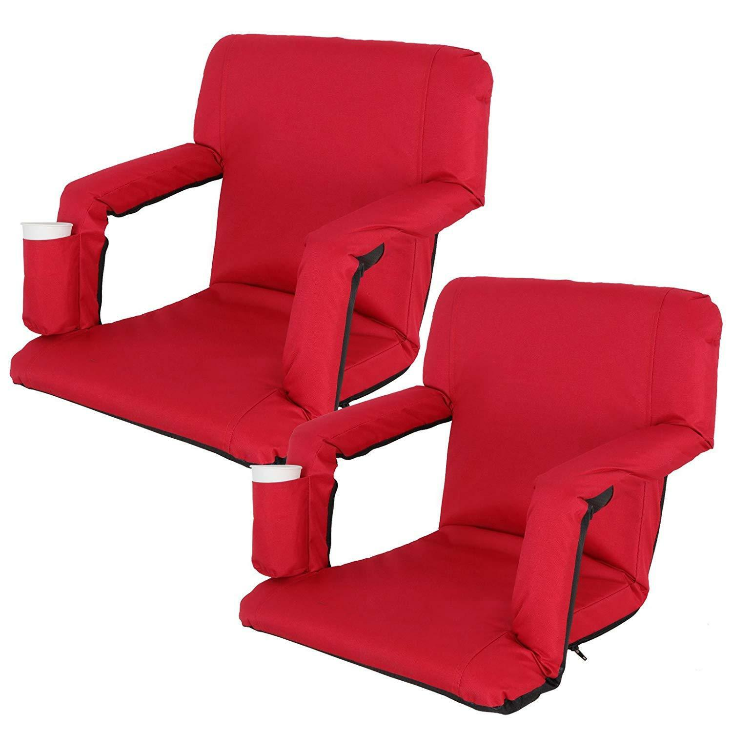 Portable 2 Pieces Red Stadium Seat Gym Reclining Seat 5 Adjustable Positions