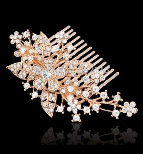 SPOSA chiaro cristallo austriaco Fiore per Capelli Fermaglio Pettine HEAD Piece Rose Oro