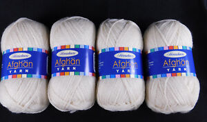 Herrschners Afghan Yarn 2-ply lot of 2 220 yds each Cream