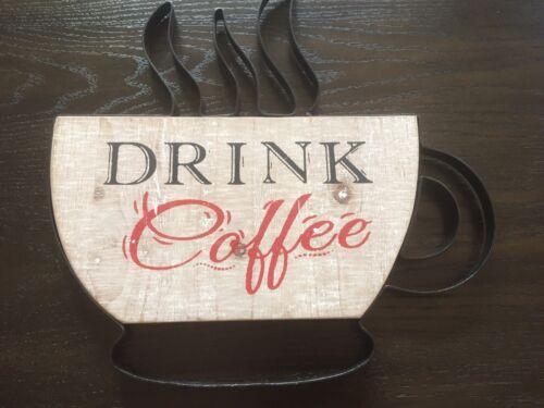 Drink Coffee Mug Wood Wall Decor Sign