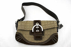 b2c3dedafd77 COACH Soho Signature Brown Suede Jacquard Small Mini Flap Shoulder ...