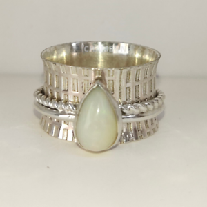 Opal-Solid-925-Sterling-Silver-Spinner-Ring-Meditation-Statement-Ring-Size-M-A6