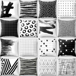 AU-Black-and-White-Geometric-Print-Cushion-Cover-Pillow-Case-Sofa-Decor-Unique