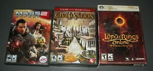LOT OF 3 PC GAMES, MASS EFFECT 2 / CIVILIZATION 4 / LORD OF THE RINGS ONLINE, SH