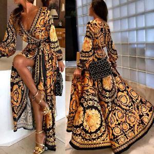 Womens-V-Neck-Printed-Long-Maxi-Dress-Summer-High-Split-Party-Cocktail-Dress