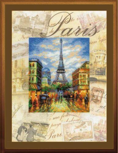 RIOLIS  0018PT  Paris  Villes du Monde  Point de Croix compté  Fond pré-imprimé