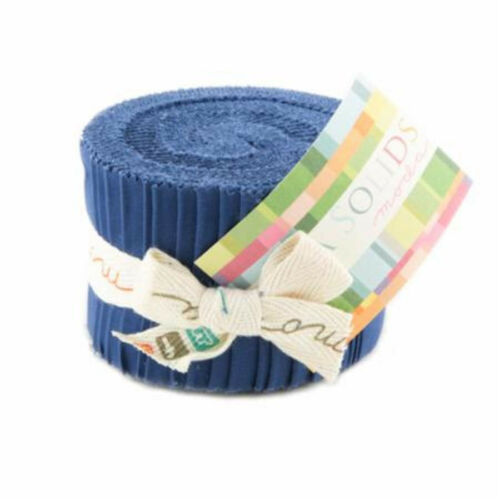 Moda Fabric Junior Jelly Roll Bella Solid Admiral Blue Patchwork Quilting 2...