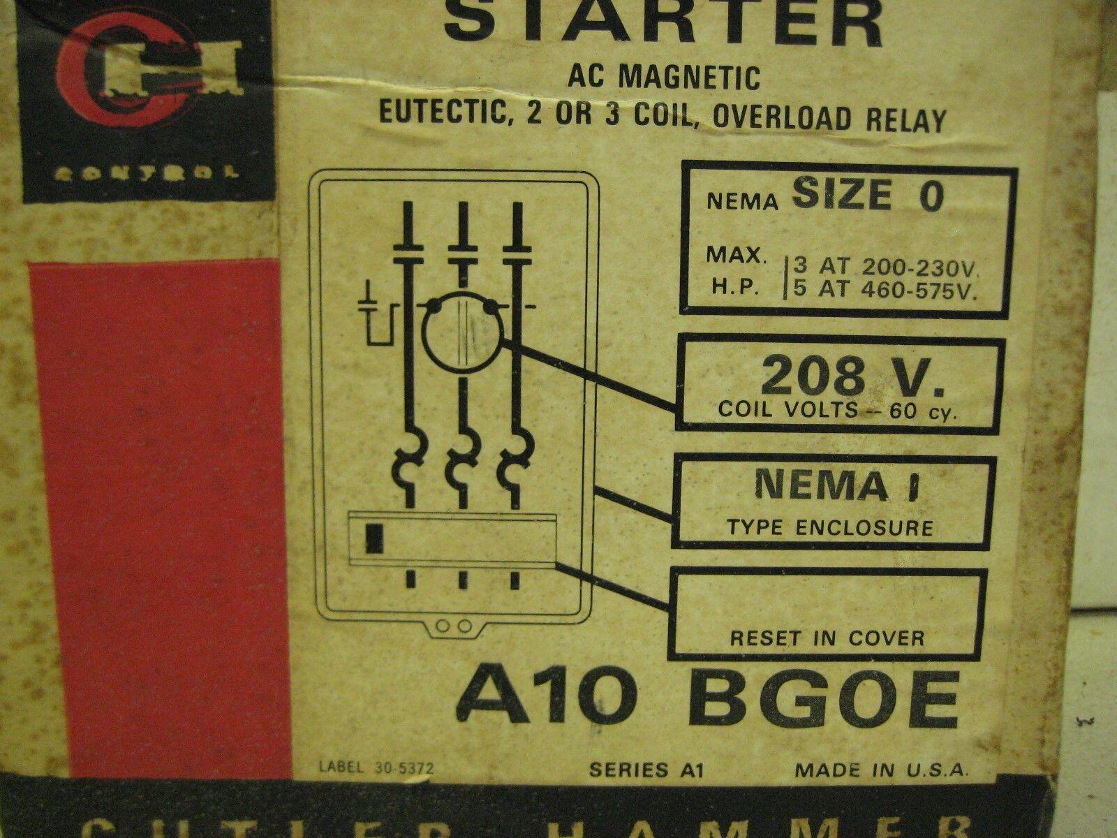 NEW CUTLER-HAMMER MAGNETIC A10BGOE SIZE 0 STARTER 208v NEMA TYPE ENCLOSURE