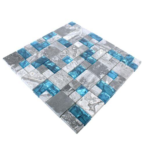 Glasmosaik Natursteinfliesen Sinop Grau Blau 1QM für Küche Bad Duche Wand Stein