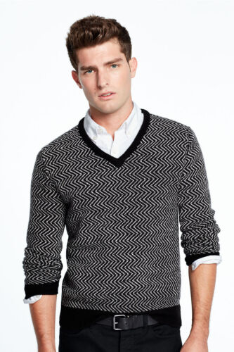 LANDS/' END Men/'s M Merino Wool Herringbone Pattern V-neck Sweater NWT $99