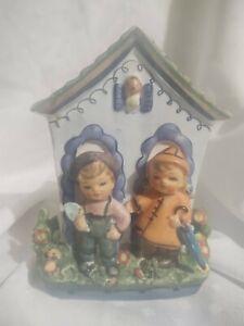 VTG-Ceramic-Planter-Porcelain-Hummel-Like-Style-Boy-Girl-Umbrella-House-Bird