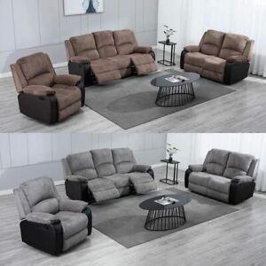 Jumbo Cord Fabric Recliner, Brown Fabric Recliner Sofa 3 2