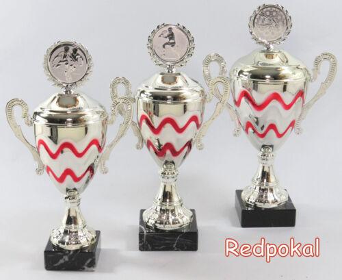Pokale 31-34 cm inkl 3er Serie Henkel Gravur und Emblem Silber//Rot E175