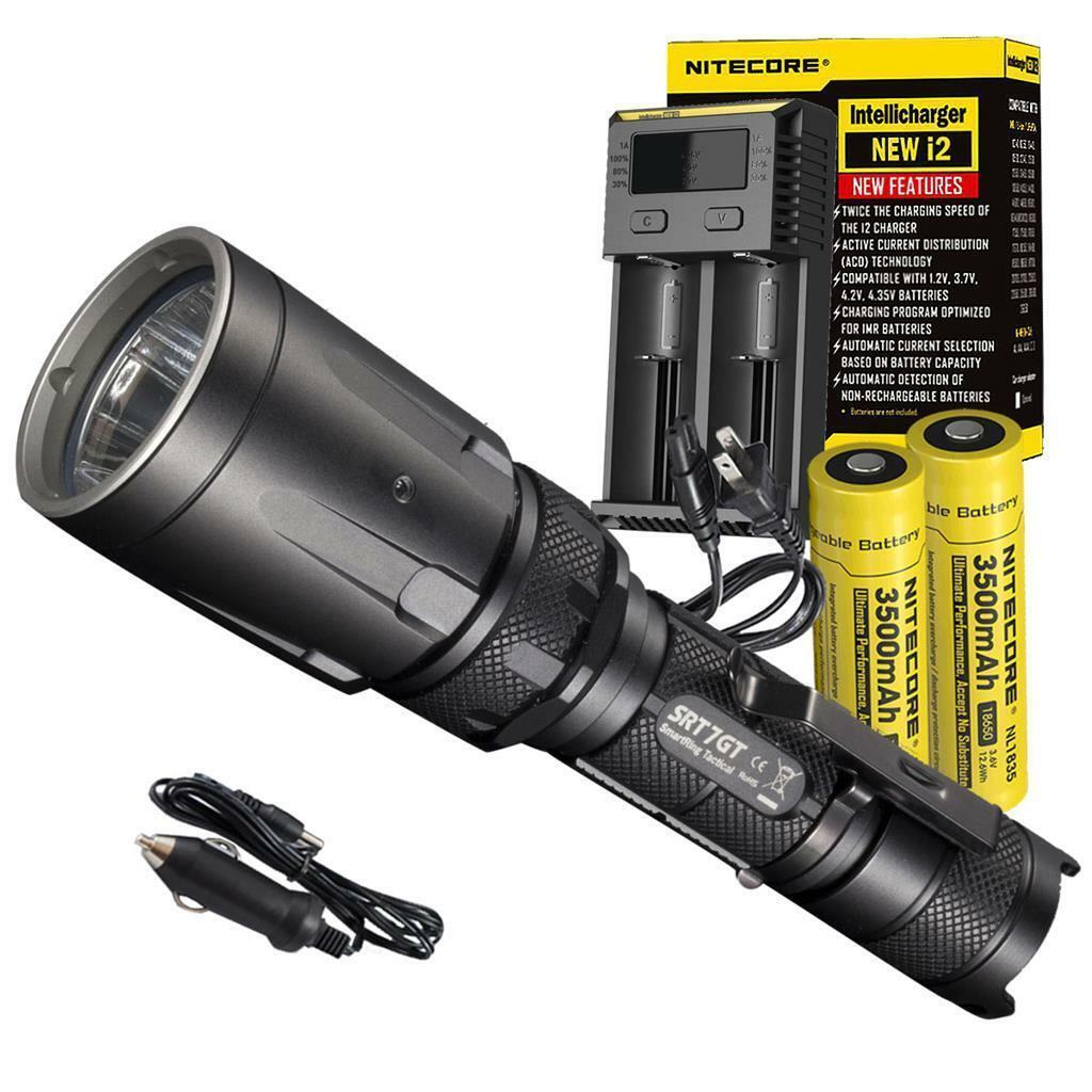 Bundle  Nitecore SRT7GT Flashlight, 2x 18650 Batteries, i2 Charger & Car Adapter