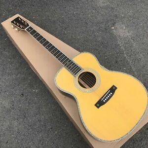 custom sr mac om42 electric acoustic guitar with full solid wood abalone binding ebay. Black Bedroom Furniture Sets. Home Design Ideas