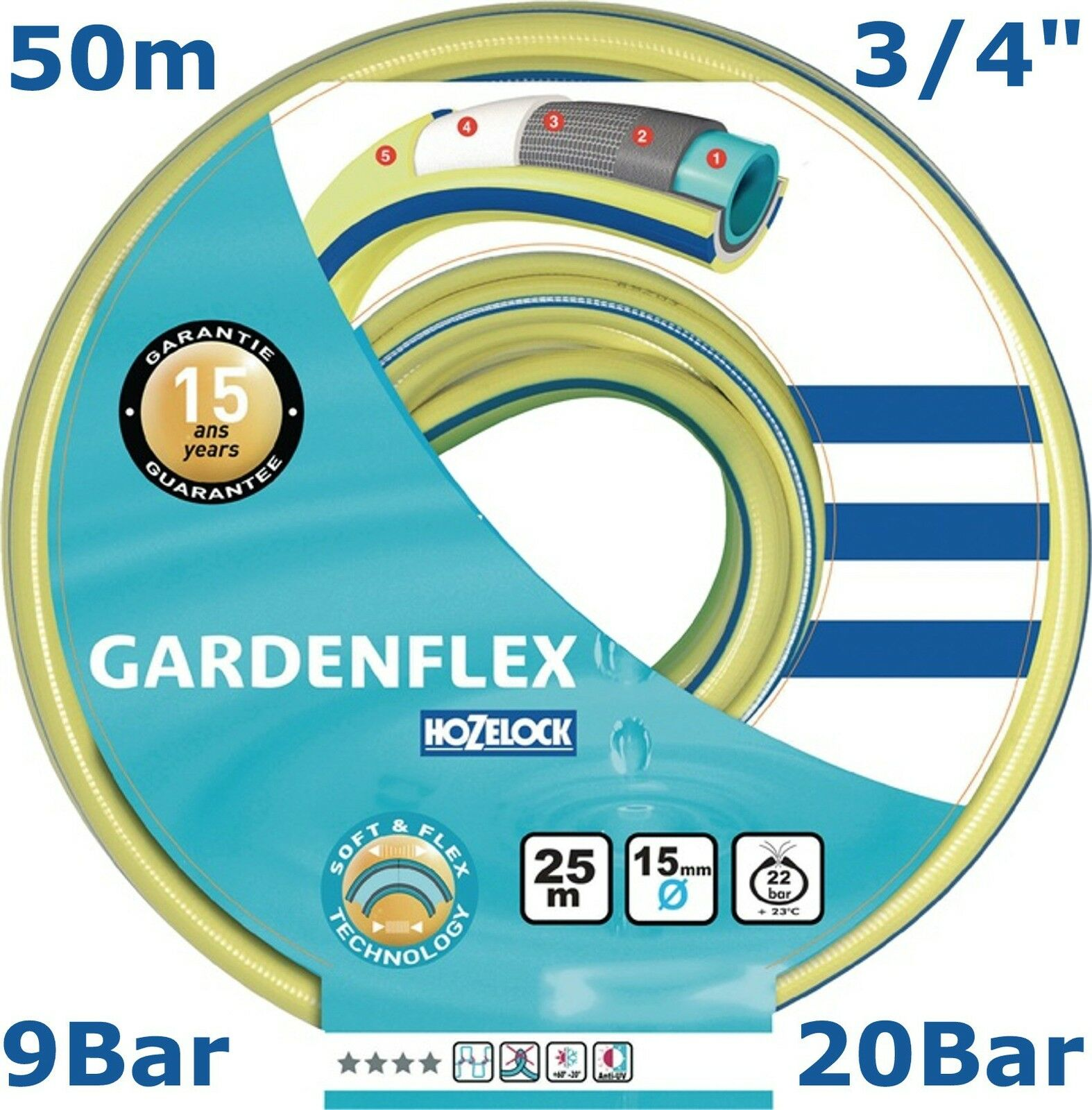 TUBO per acqua primo Gardenflex Tubo da giardino 3 4 pollici 9 bar 19 mm -20 C ° 50 M