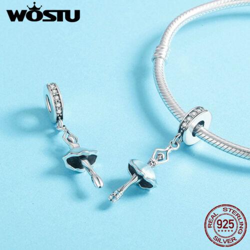 Wostu magnifique bleu Ballet Fille Dangle chrams 925 Sterling Silver Fit Bracelet