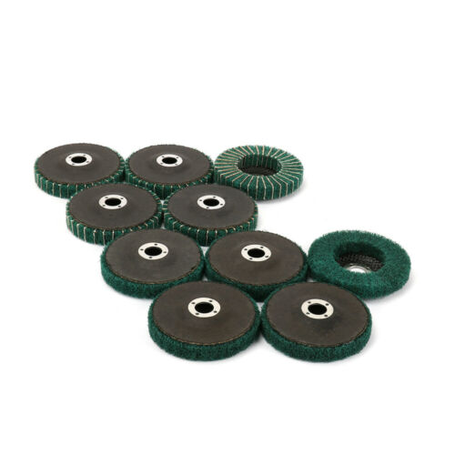 "10Pcs 4/"" Nylon Fiber Flap Polishing Wheel Buffing Abrasive Disc 5//8/"" Bore 120#"