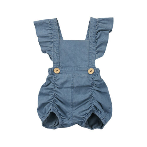 Newborn Baby Girl Outfit Lace Ruffled Romper Ripped Demin Jeans Sunsuit Jumpsuit