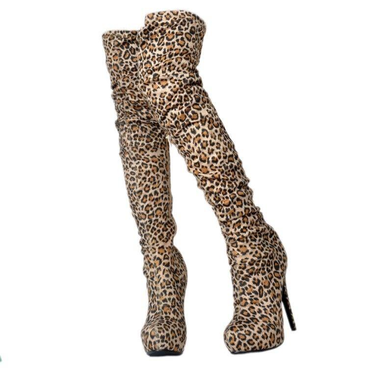 Mujeres Leopardo de alto del muslo sobre la rodilla botas Zapatos Taco Alto De Aguja Club nocturno
