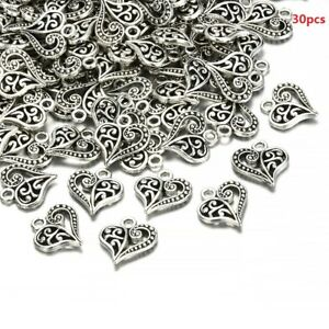 30x-Antique-Bronze-Silver-Alloy-Hollow-Heart-Charms-Pendants-Findings-Crafts