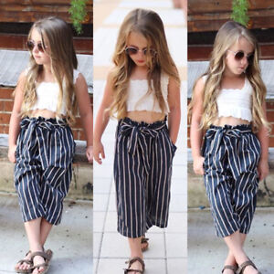 36ce79ddfef Kids Baby Girls Lace Striped Crop Tops T-shirt Long Pants Outfits ...
