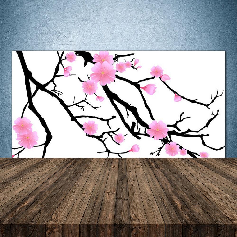 Crédence de cuisine en verre Panneau 140x70 Art Branches Fleurs