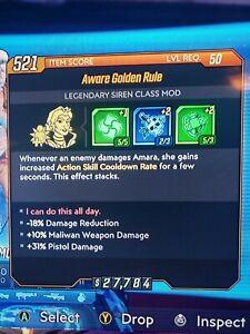 Details About Golden Rule Amara Class Mod Borderlands 3 Xbox Handsome Jackpot Bl3 Pistol Dmg