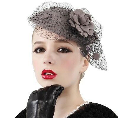 Womens Wool Felt Formal Hat Fascinator Cocktail Church Party Wedding Ascot A043