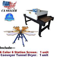 6 Color 6 Station Manual Screen Printing Machine Amp 220v Conveyor Tunnel Dryer