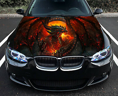 Fire Dragon Hood Full Color Graphics Wrap Decal Vinyl Sticker Fit any Car #329