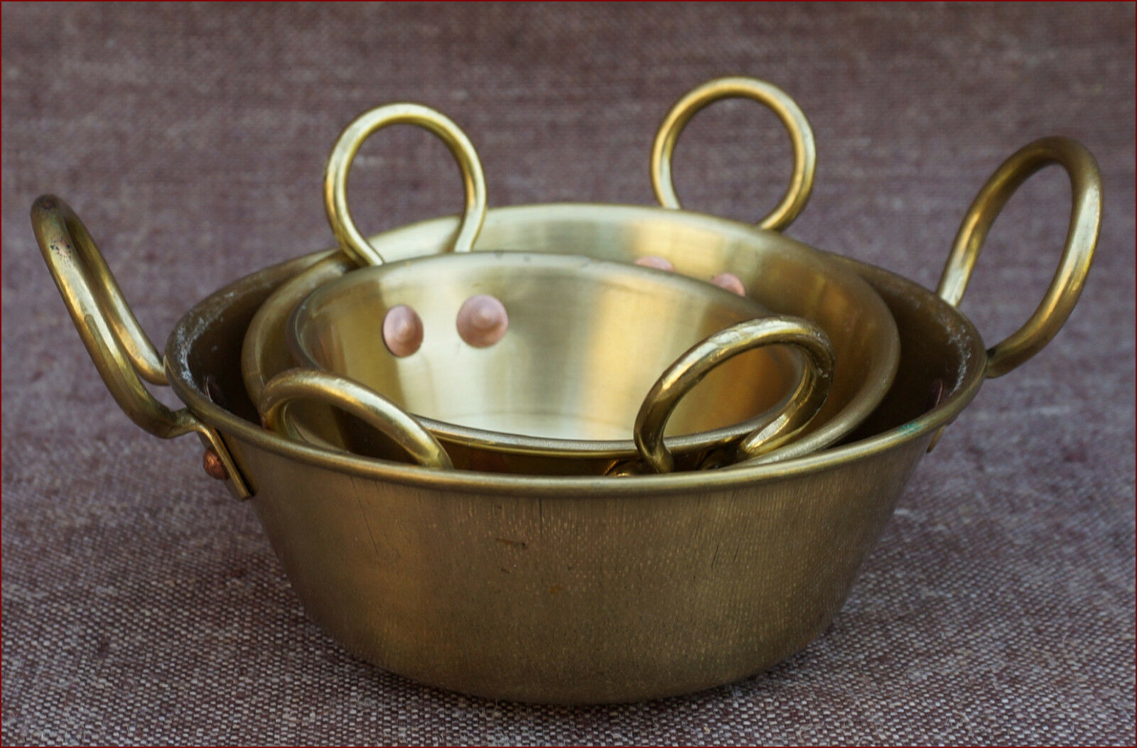 Miniature 3 Brass Basin Jam Preserving Pans for Doll House Kitchen French Coock