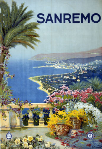 3819 Sanremo Vintage Travel Poster.Scape Art Decorative.Home interior design