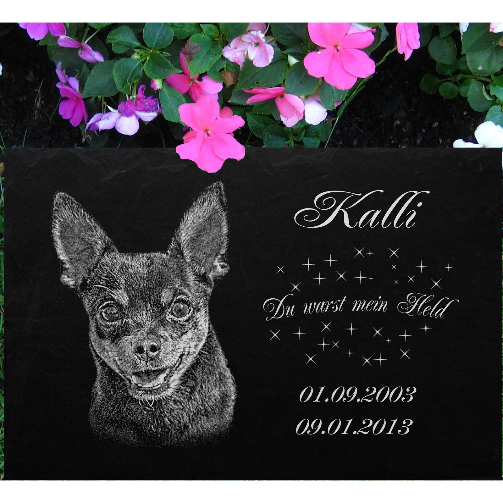 GRABSTEIN Tiergrabstein Grabschmuck Hunde Grab Hund-022 ► Fotogravur ◄50 x 25 cm
