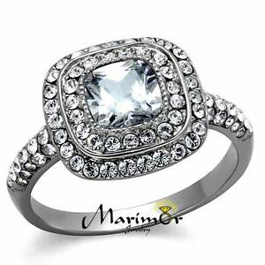 2.55Ct Halo Cushion Cut Zirconia Stainless Steel Engagement Ring Womens Sz 5-10