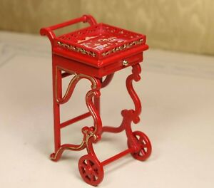 Red-Dining-Caddy-Cart-MUSEUM-QUALITY-DOLLHOUSE-FURNITURE-1-12-or-1-034-BESPAQ