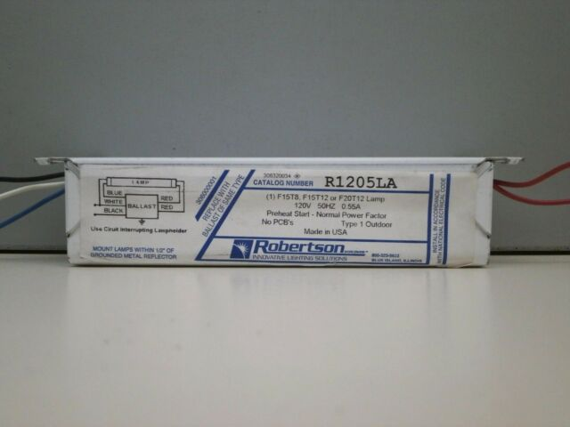 Robertson R1205LA Fluorescent 120V 50Hz Ballast for 1 F20T12 F15T12 F15T8