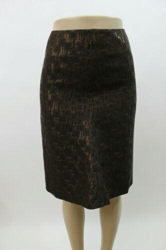 Marni Brown Metallic Geometric Silk Blend Skirt  S