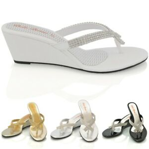 26b34d3a7761 NEW WOMENS DIAMANTE TOE POST LADIES DRESSY PARTY SPARKLY WEDGE ...