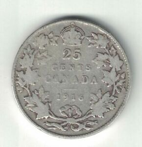 CANADA-1916-TWENTY-FIVE-CENTS-QUARTER-KING-GEORGE-V-STERLING-SILVER-COIN