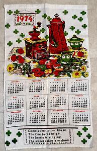 Vtg-1974-Calendario-Pared-Colgante-Toalla-Lino-Cocina-Mcm-Cafe-Molinillo-Floral