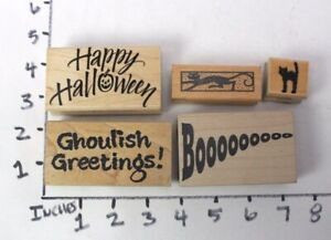 Wooden-RUBBER-STAMP-Block-Lot-Halloween-Greetings-Ghoulish-Cats
