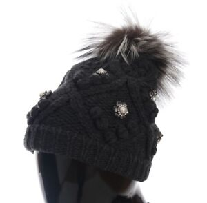 5bdc4409f94 NEW DOLCE   GABBANA Hat Beanie Gray Knitted Crystal Cashmere Silver ...