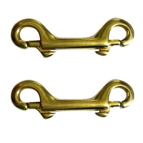 "2x Double End Bolt Trigger Clip Snap Hook Key Chain Heavy Duty Brass 3-1//2/"""