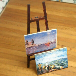 1-12-Miniature-Wooden-Easel-With-Two-Painting-DIY-Dollhouse-Miniature-Decor-L6Y9