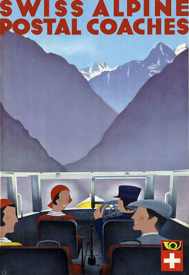 T70 Vintage Switzerland Alpine Coaches Swiss Travel Poster A1 A2 A3