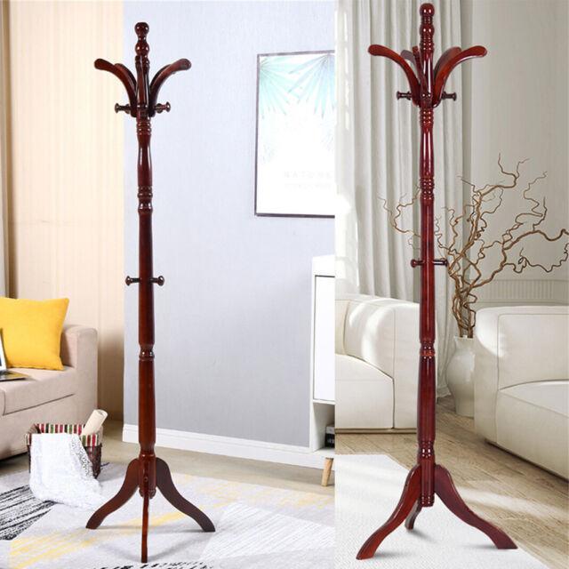 Premium Coat Racks Wooden Standing 6 Hooks Lacquered Pine Tree For Coats For Sale Online Ebay