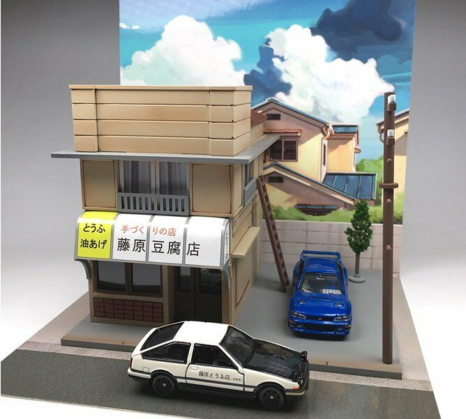 1 64 Initial D Fujiwara Tofu Shop LED Model Kit Diorama Set New